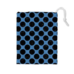 CIRCLES2 BLACK MARBLE & BLUE COLORED PENCIL (R) Drawstring Pouch (Large)