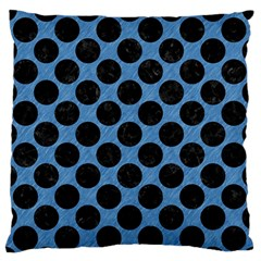 CIRCLES2 BLACK MARBLE & BLUE COLORED PENCIL (R) Large Flano Cushion Case (Two Sides)