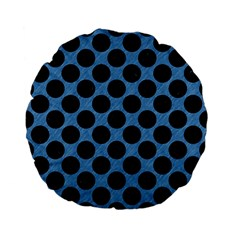 CIRCLES2 BLACK MARBLE & BLUE COLORED PENCIL (R) Standard 15  Premium Flano Round Cushion