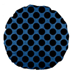 CIRCLES2 BLACK MARBLE & BLUE COLORED PENCIL (R) Large 18  Premium Flano Round Cushion