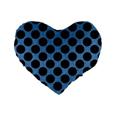 CIRCLES2 BLACK MARBLE & BLUE COLORED PENCIL (R) Standard 16  Premium Flano Heart Shape Cushion
