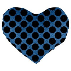 CIRCLES2 BLACK MARBLE & BLUE COLORED PENCIL (R) Large 19  Premium Flano Heart Shape Cushion