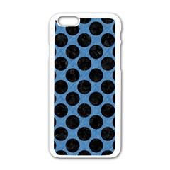 CIRCLES2 BLACK MARBLE & BLUE COLORED PENCIL (R) Apple iPhone 6/6S White Enamel Case
