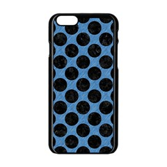 CIRCLES2 BLACK MARBLE & BLUE COLORED PENCIL (R) Apple iPhone 6/6S Black Enamel Case