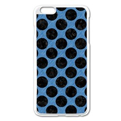 CIRCLES2 BLACK MARBLE & BLUE COLORED PENCIL (R) Apple iPhone 6 Plus/6S Plus Enamel White Case