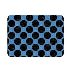CIRCLES2 BLACK MARBLE & BLUE COLORED PENCIL (R) Double Sided Flano Blanket (Mini)