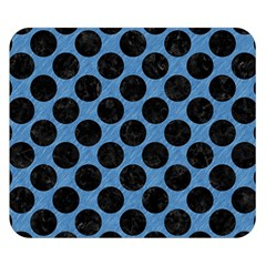 CIRCLES2 BLACK MARBLE & BLUE COLORED PENCIL (R) Double Sided Flano Blanket (Small)