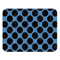 CIRCLES2 BLACK MARBLE & BLUE COLORED PENCIL (R) Double Sided Flano Blanket (Large)