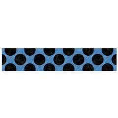 CIRCLES2 BLACK MARBLE & BLUE COLORED PENCIL (R) Flano Scarf (Small)