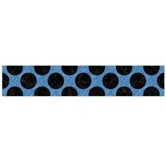 CIRCLES2 BLACK MARBLE & BLUE COLORED PENCIL (R) Flano Scarf (Large)