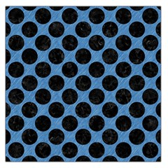 CIRCLES2 BLACK MARBLE & BLUE COLORED PENCIL (R) Large Satin Scarf (Square)