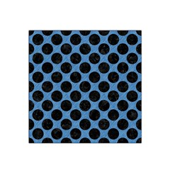 CIRCLES2 BLACK MARBLE & BLUE COLORED PENCIL (R) Satin Bandana Scarf