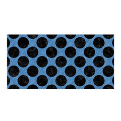 CIRCLES2 BLACK MARBLE & BLUE COLORED PENCIL (R) Satin Wrap