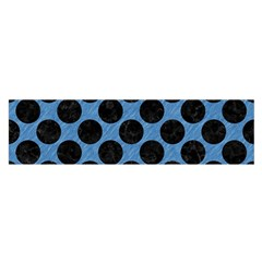 CIRCLES2 BLACK MARBLE & BLUE COLORED PENCIL (R) Satin Scarf (Oblong)