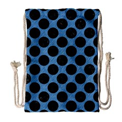 CIRCLES2 BLACK MARBLE & BLUE COLORED PENCIL (R) Drawstring Bag (Large)