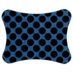 CIRCLES2 BLACK MARBLE & BLUE COLORED PENCIL (R) Jigsaw Puzzle Photo Stand (Bow)