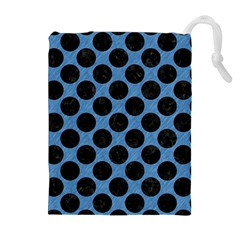 CIRCLES2 BLACK MARBLE & BLUE COLORED PENCIL (R) Drawstring Pouch (XL)