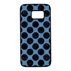 CIRCLES2 BLACK MARBLE & BLUE COLORED PENCIL (R) Samsung Galaxy S7 Black Seamless Case