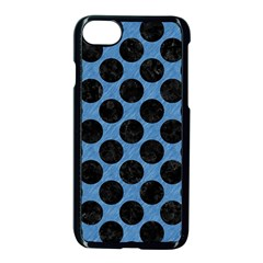 CIRCLES2 BLACK MARBLE & BLUE COLORED PENCIL (R) Apple iPhone 7 Seamless Case (Black)