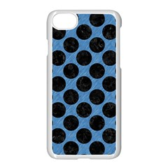 CIRCLES2 BLACK MARBLE & BLUE COLORED PENCIL (R) Apple iPhone 7 Seamless Case (White)