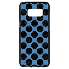 CIRCLES2 BLACK MARBLE & BLUE COLORED PENCIL (R) Samsung Galaxy S8 Black Seamless Case