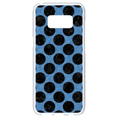 CIRCLES2 BLACK MARBLE & BLUE COLORED PENCIL (R) Samsung Galaxy S8 White Seamless Case
