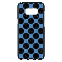 CIRCLES2 BLACK MARBLE & BLUE COLORED PENCIL (R) Samsung Galaxy S8 Plus Black Seamless Case