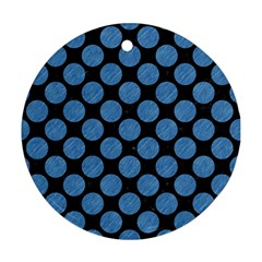 Circles2 Black Marble & Blue Colored Pencil Round Ornament (two Sides) by trendistuff