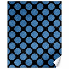 Circles2 Black Marble & Blue Colored Pencil Canvas 11  X 14  by trendistuff