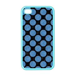 Circles2 Black Marble & Blue Colored Pencil Apple Iphone 4 Case (color) by trendistuff