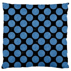 Circles2 Black Marble & Blue Colored Pencil Large Cushion Case (two Sides) by trendistuff
