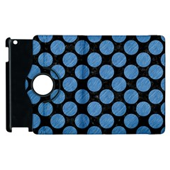 Circles2 Black Marble & Blue Colored Pencil Apple Ipad 2 Flip 360 Case by trendistuff