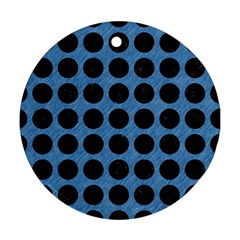 Circles1 Black Marble & Blue Colored Pencil (r) Round Ornament (two Sides) by trendistuff