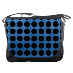 Circles1 Black Marble & Blue Colored Pencil (r) Messenger Bag by trendistuff
