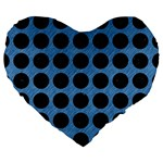 CIRCLES1 BLACK MARBLE & BLUE COLORED PENCIL (R) Large 19  Premium Heart Shape Cushion Front