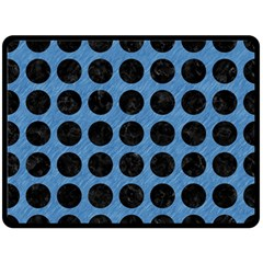 Circles1 Black Marble & Blue Colored Pencil (r) Double Sided Fleece Blanket (large)