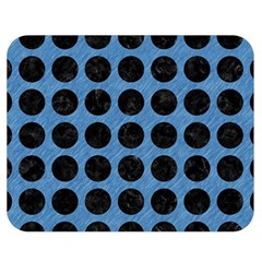 Circles1 Black Marble & Blue Colored Pencil (r) Double Sided Flano Blanket (medium) by trendistuff