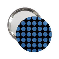 Circles1 Black Marble & Blue Colored Pencil 2 25  Handbag Mirror by trendistuff