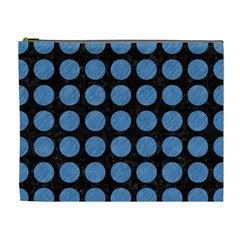 Circles1 Black Marble & Blue Colored Pencil Cosmetic Bag (xl) by trendistuff