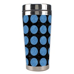 Circles1 Black Marble & Blue Colored Pencil Stainless Steel Travel Tumbler by trendistuff
