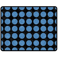 Circles1 Black Marble & Blue Colored Pencil Double Sided Fleece Blanket (medium) by trendistuff