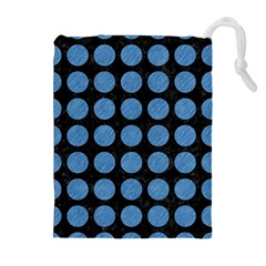 Circles1 Black Marble & Blue Colored Pencil Drawstring Pouch (xl) by trendistuff