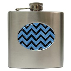 Chevron9 Black Marble & Blue Colored Pencil (r) Hip Flask (6 Oz) by trendistuff