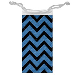 Chevron9 Black Marble & Blue Colored Pencil (r) Jewelry Bag by trendistuff