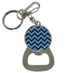 Chevron9 Black Marble & Blue Colored Pencil (r) Bottle Opener Key Chain by trendistuff