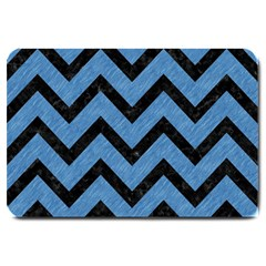 Chevron9 Black Marble & Blue Colored Pencil (r) Large Doormat by trendistuff