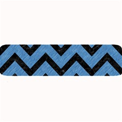 Chevron9 Black Marble & Blue Colored Pencil (r) Large Bar Mat by trendistuff