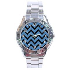 Chevron9 Black Marble & Blue Colored Pencil (r) Stainless Steel Analogue Watch by trendistuff