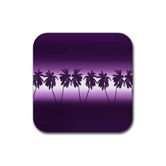 Tropical Sunset Rubber Coaster (square)  by Valentinaart