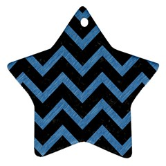 Chevron9 Black Marble & Blue Colored Pencil Ornament (star) by trendistuff